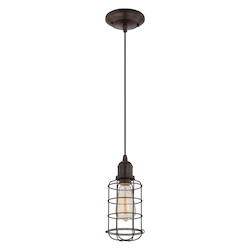Savoy House One Light English Bronze Wire Cage Shade Down Mini Pendant
