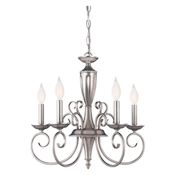 Savoy House Five Light Pewter Up Chandelier