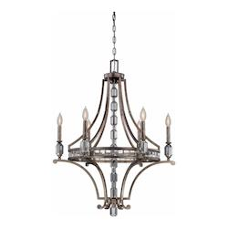 Savoy House Six Light Silver Dust Up Chandelier