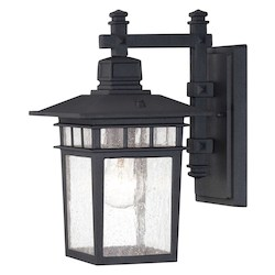 Savoy House Open Box One Light Clear Seedy Glass Textured Black Wall Lantern