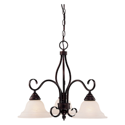 Savoy House Three Light English Bronze Cream Faux Alabaster Glass Down Chandelier