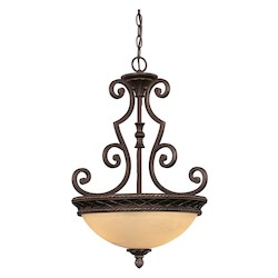 Savoy House Three Light Antique Copper Up Pendant