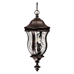 Savoy House Three Light Walnut Patina Clear Watered Glass Hanging Lantern