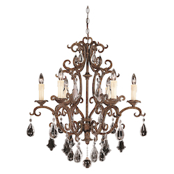 Savoy House Six Light New Tortoise Shell Crystal Full Cut Clear Up Chandelier