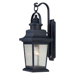 Savoy House One Light Slate Clear Seeded Glass Wall Lantern