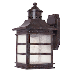 Savoy House Open Box One Light Pale Cream Textured Glass Rustic Bronze Wall Lantern