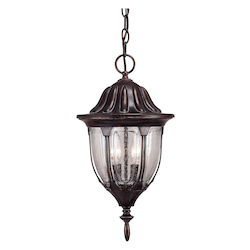 Savoy House Two Light Bark & Gold Clear Seeded Glass Hanging Lantern