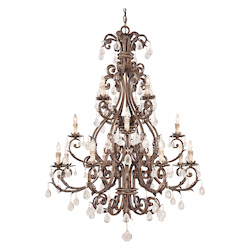 Savoy House Sixteen Light New Tortoise Shell W/Silver Crystal Clear Up Chandelier