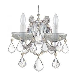 Crystorama Maria Theresa Chrome 2 Light Hand Cut Crystal Wall Light Sconce