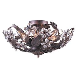 Crystorama Six Light Dark Rust Bowl Semi-Flush Mount