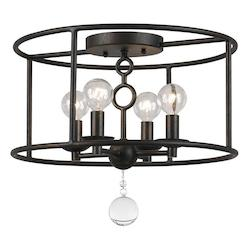 Crystorama English Bronze Cameron 4 Light Flush Mount Ceiling Fixture