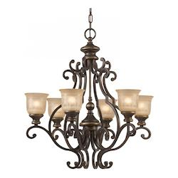 Crystorama Bronze Umber Norwalk 6 Light 28in. Wide Wrought Iron Chandelier