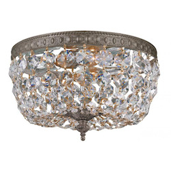 Crystorama Two Light English Bronze Bowl Flush Mount