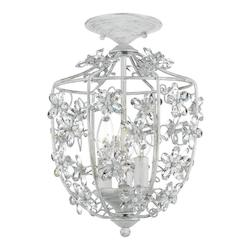 Crystorama Antique White Abbie 3 Light Semi-Flush Ceiling Fixture