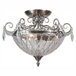 Crystorama Three Light Polished Chrome Clear Glass Bowl Semi-Flush Mount