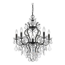Crystorama Six Light Vibrant Bronze Up Chandelier