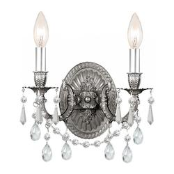 Crystorama Two Light Pewter Wall Light