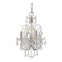 Crystorama Polished Chrome Imperial 4 Light 12in. Wide Steel Candle Style Mini Chandelier