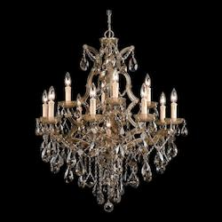Crystorama Thirteen Light Antique Brass Up Chandelier