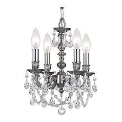 Crystorama Four Light Pewter Up Mini Chandelier
