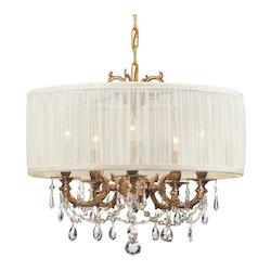 Crystorama Five Light Aged Brass Up Chandelier