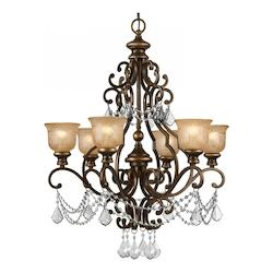 Crystorama Norwalk 6 Light Bronze Crystal Wrought Iron & Crystal Chandelier