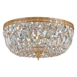 Crystorama Richmond 3 Light Brass Crystal Flush Mount Large Bowl Ceiling Light