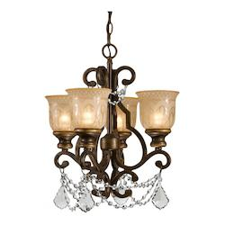 Crystorama Bronze Umber Norwalk 4 Light 17in. Wide Wrought Iron Mini Chandelier