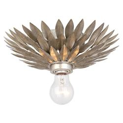 Crystorama One Light Antique Sliver Bowl Flush Mount