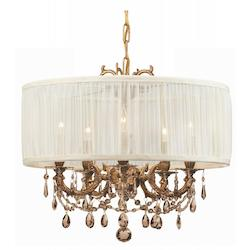 Crystorama Five Light Aged Brass Drum Shade Chandelier