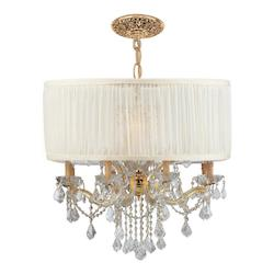 Crystorama Gold Brentwood 12 Light 30in. Wide Glass Drum Chandelier and Silk Shade