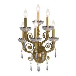 Crystorama Six Light Aged Brass Wall Light