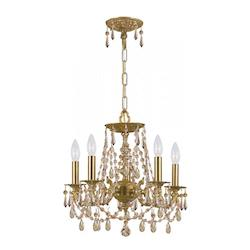 Crystorama Five Light Aged Brass Up Mini Chandelier
