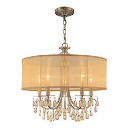 Crystorama Five Light Antique Brass Up Chandelier