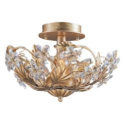 Crystorama Three Light Gold Leaf Bowl Semi-Flush Mount