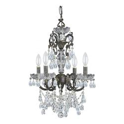 Crystorama Legacy 4 Light English Bronze Crystal & Wrought Iron Mini Chandelier