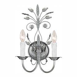 Crystorama Two Light Silver Leaf Wall Light
