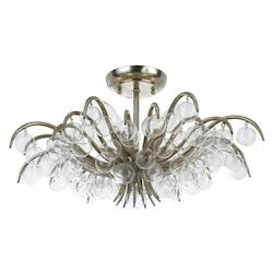 Crystorama Five Light Antique Sliver Bowl Semi-Flush Mount