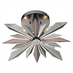 Crystorama Midnight Chrome Galaxy 4 Light Semi Flush Ceiling Fixture