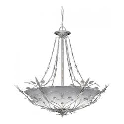 Crystorama Six Light Silver Leaf Up Chandelier
