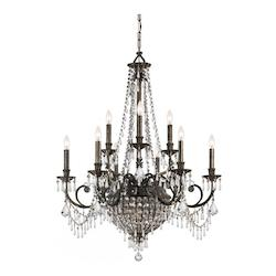 Crystorama Nine Light English Bronze Up Chandelier