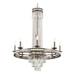 Crystorama Eight Light English Bronze Up Chandelier
