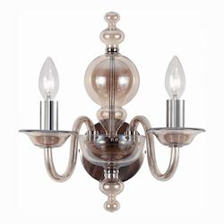 Crystorama Polished Chrome Harper 2 Light Candle Style Double Wall Sconce