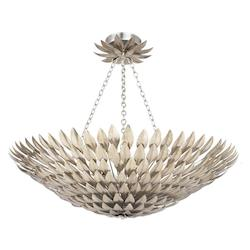 Crystorama Eight Light Antique Sliver Bowl Semi-Flush Mount