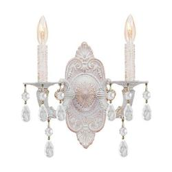 Crystorama Antique White / Clear Crystal Sutton 2 Light Candle Style Double Wall Sconce