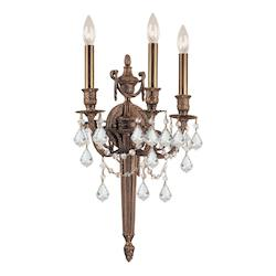 Crystorama Matte Brass / Hand Polished Arlington 3 Light Candle Style Wall Sconce
