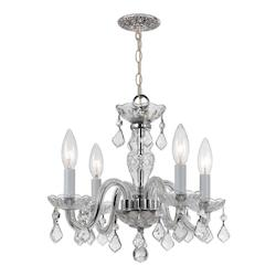 Crystorama Traditional Polished Chrome Crystal Mini Chandelier With 4 Clear Lights