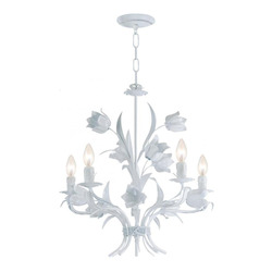 Crystorama Wet White Southport 5 Light 20in. Wide Wrought Iron Candle Style Chandelier