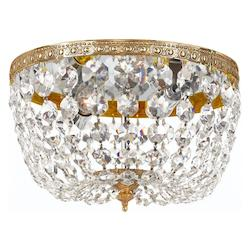 Crystorama Richmond 2 Light Brass Crystal Flush Mount Bowl Ceiling Light