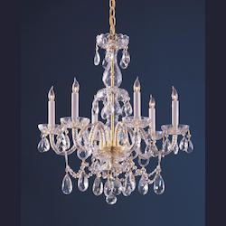 Crystorama Six Light Polished Brass Up Chandelier